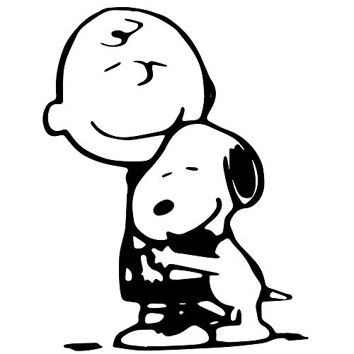 Peanuts Comic 5.5' Tall Charlie Brown Hugging Snoopy Decal for Cars Laptops Tablets, Windows Skateboard - Black