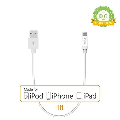 [Apple MFI Certified]Kinps®1FT 8 pin Lightning Cable USB Cable Sync Charger Data Cord for Apple iPhone 5 / 5s / 5c / 6 / 6 Plus, iPod 7, iPad mini / mini 2/ mini 3, iPad Air / iPad Air 2(white)