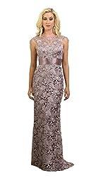 Mauve Cap Sleeve Rhinestones Lace Dress #27182