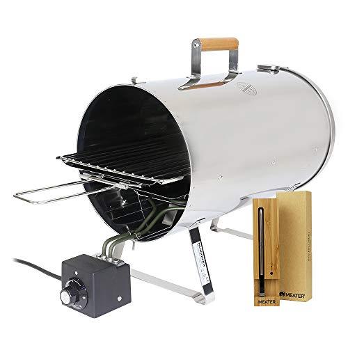 MUURIKKA Tischräucherofen PRO 1100W im Set mit MEATER - regelbarer Elektro-Smoker kompakt aus Edelstahl, für Fisch&Fleisch inkl. Meater Bluetooth Smart-Fleischthermometer mit 10m Reichweite