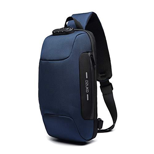 OZUKO Herren Diebstahlsichere Brusttasche Umhängetasche, Anti-Diebstahl-Sling-Schulter-Umhängetasche Rucksack Wasserdichte Schultertasche mit USB-Ladeanschluss (Blau)