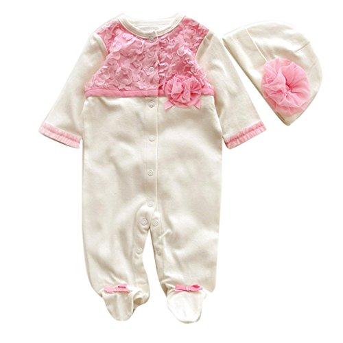 Neugeborene Baby Kleidung,Honestyi Newborn Infant Baby Mädchen Hat+Romper Bodysuit Kleidung Set Outfit Winter Warm Onesies Niedlich Lange Ärmel Kapuzenpullover Karikatur Jumpsuit (Weiß, 3-6M/60CM)