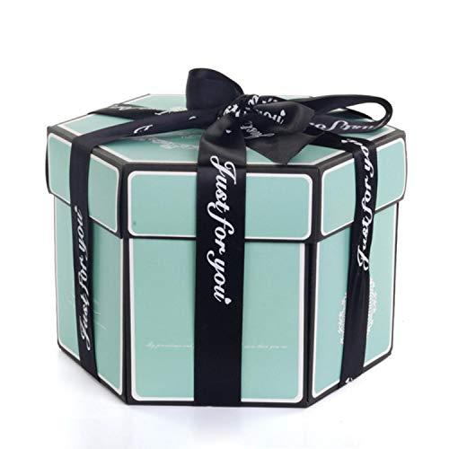 Hexagone Surprise Explosion Box zum Basteln, Scrapbooking, Fotoalbum, Geschenkbox für Hochzeit, Valentinstag, Weihnachten, Tiffany, Blau