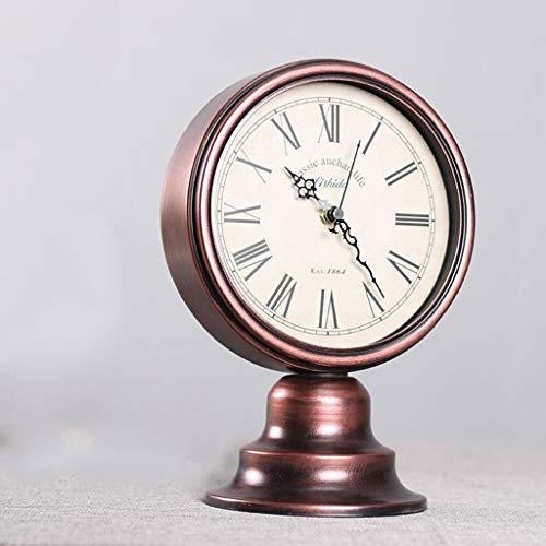 O&YQ Horloge de Table de Comptoir Horloge en Métal Muet Salon Chambre Chevet Horloge de Table Rétro Il S'Applique à Pour les Familles Bureaux Ect
