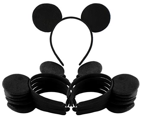 Black Mouse Ear Headbands (12-Pack); Mickey Style Headgear for Costume/Party Favors