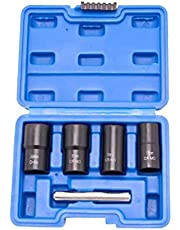 Naisicatar Utdragaruttag set slagbult mutter kit mutter borttagning verktyg för att ta bort rost slitage hjulmuttrar 5 st