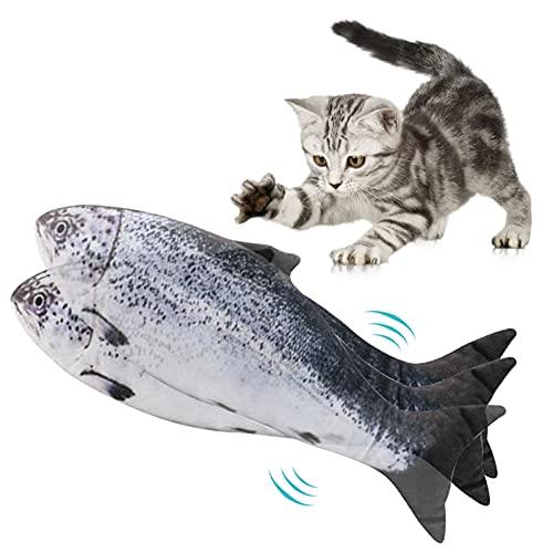 Lacyie Pesce Giocattolo per Gatto, Catnip Giochi per Gatti in Casa Elettrici Automatico Simulazione Peluche a Forma di Pesce Giochi Gatto Interattivo per Gatti Gatto con USB Ricaricabile (C)