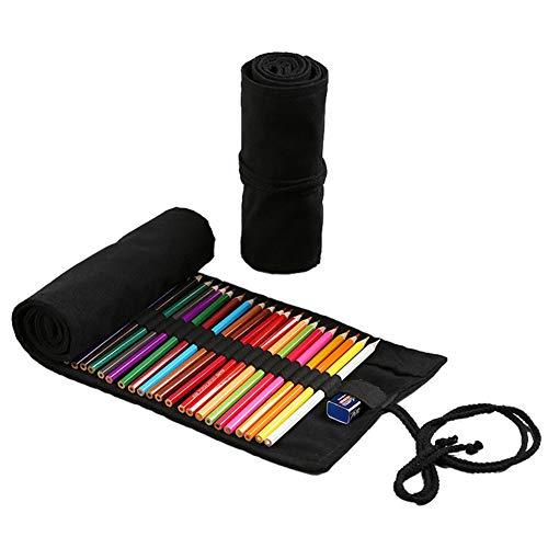 Estuche Para Lápices Lona,72 Agujeros Soporte Rollo Lápiz Color Bolsa Almacenamiento Para Artista Escuela Oficina Negro Gran Capacidad Arrollable Estudiante