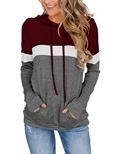 Hoodies for Teen Girls Color Block Sweatshirt Hooded Womens Long Sleeve Tops Blouse with Pocket Burgendy X-Large