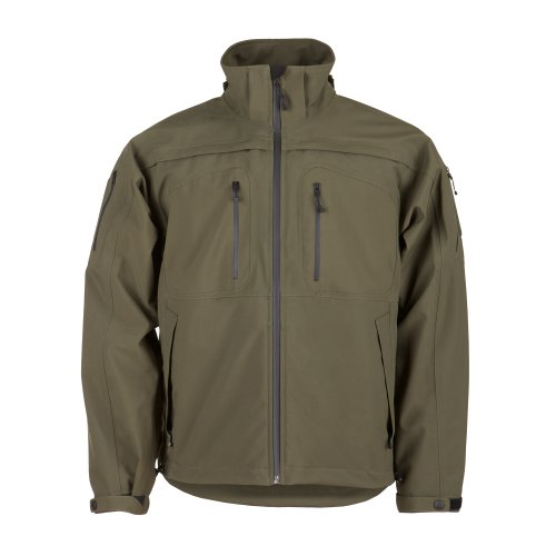 5.11 Tactical Mens Sabre 2.0 Jacket, Polyester Bonded Softshell and Detachable Hood, Style 48112 Moss Green