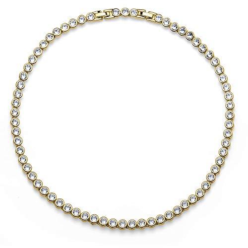 Oliver Weber Collection Tennis – Vergoldetes Collier • Premium Schmuck Kollektion, Halskette mit Swarovski Kristall • Ideale Geschenkidee für Damen