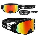 TWO-X – Gafas de cross Rocket, cristal de reflejo de iridio - Gafas MX, protección de nariz para motocross. Gafas de espejo Enduro. Gafas protectoras para moto, antiarañazos