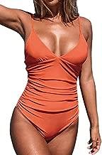 CUPSHE Women's V Neck Shirring Swimsuit,Orange, L