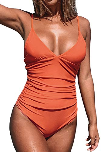 CUPSHE Women's V Neck Shirring Swimsuit,Orange, L