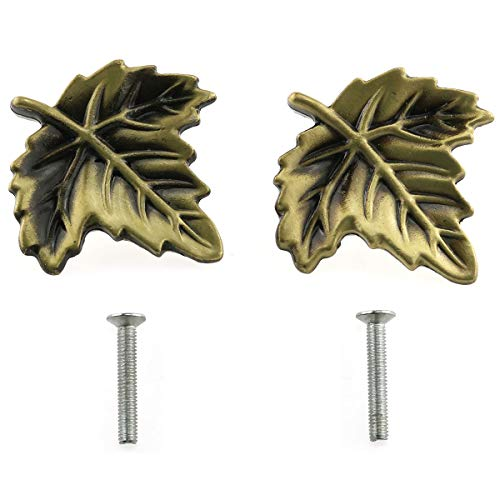 E-outstanding Leaf Shaped Pull 2PCS Antique Bronze Leaf Shape Handle Knob with Mounting Screws for Kitchen Cupboard Cabinet Wardrobe Drawer Door