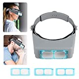 Magnifying Glasses Jewelry Loupes Headband Magnifier 1.5X 2X 2.5X 3.5X Double Lens Head Mounted Reading Magnifier Glasses Watchmaking Handsfree Binocular Magnifier Watch Repair Tool Eye Magnifying