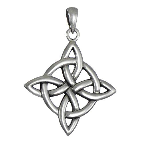 Sterling Silver Celtic Quaternary Witches Knot Pendant