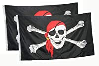 DANF 2 Pack Jolly Roger Flag with Red Bandana Crossbones Pirate 3 by 5 FT Polyester Flag