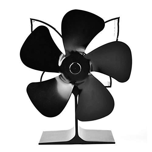 Rubyu-123 Ventilador de Estufa de 5 Palas, Alimentados por Calor, Ventilador de Chimenea, Actualización de Funcionamiento Silencioso, para Estufas, Estufas de Leña y Chimeneas, Ecológico, Negro