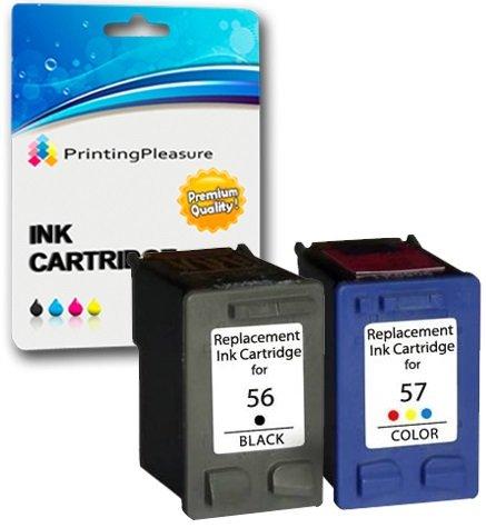 Printing Pleasure 2 Compatibles HP 56 & HP 57 Cartuchos de Tinta para Officejet 5610 4212 4215 PSC 1215 1210 1315 Photosmart 7260 7350 7450 7760 7960 C4180 C4280 C5280 - Negro/Color, Alta Capacidad