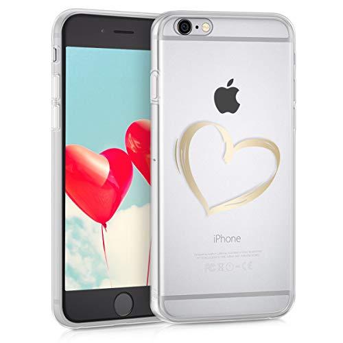 kwmobile Funda para Apple iPhone 6 / 6S - Carcasa Protectora de TPU con diseño Dibujo de corazón en Dorado/Transparente