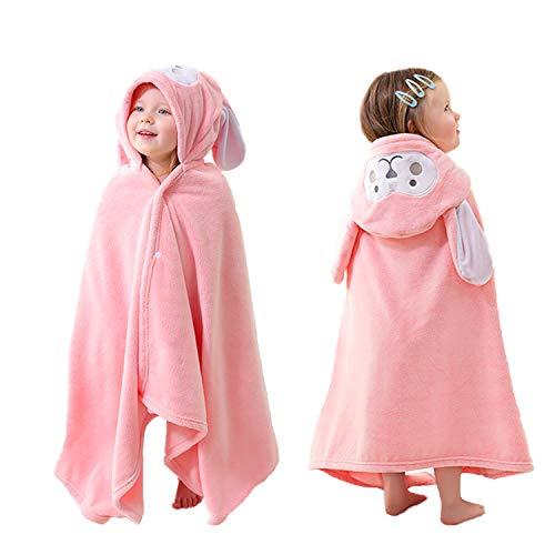 HUOCAI Badetuch Kinder Kapuze | Baby Handtuch Kapuze | Hase Design| Kinder Schwimmtuch Mit Kapuzenhandtuch Übergroß weiches und super saugfähiges maschinenwaschbares Badetücher (Rosa, 85x150cm)