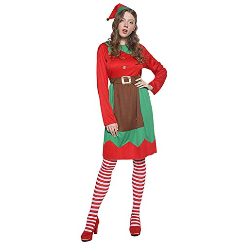 DHRGFWG Kerst Vrouwen Jurk Vrouwen Kostuum Jaar Carnaval Party Cosplay Hoed Sokken Jurk Set
