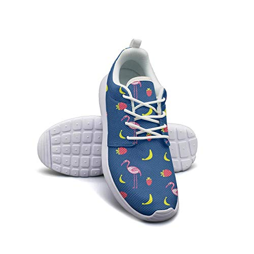 Strawberry Banana Pink Flamingo Blue Print Women Skateboard Casual Shoes Light Basketball Shoes