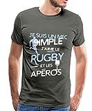 J'aime Le Rugby Et L'Apéro T-Shirt Premium Homme, 3XL, Asphalte