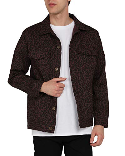 ZIOLOMA Mens Leopard Print Trucker Jacket Lightweight Rugged Canvas Cotton Shirt Jacket