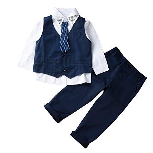 Traje Niño Conjuntos Verano 3 Piezas 1 Camisa con Corbata + 1 Chaleco +1 Pantalones Largos Ropa para Chicos Formal Traje Boda para Niño Disponible de 1 a 7 Años (4-5 años)