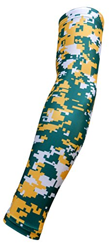 New! Green Yellow White Digital Camo Arm Sleeve - Moisture Wicking Compression (Large)