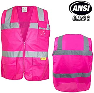 Troy Safety Class 2 Hi-Vis Safety Pink Vest with Reflective Strips and Pockets For Female(Medium)