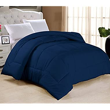 Swift Home All-season Extra Soft Luxurious Classic Light-Warmth Goose Down-Alternative Comforter, Queen 90  x 90 , Navy
