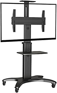 "North Bayou Mobile TV Cart TV Stand with Mount for 32"" - 55 inch LED LCD Plasma Flat Panel Screens and Displays Aluminum"