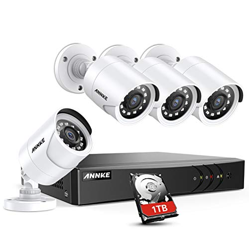 ANNKE 8 Channel Security Camera System 5-in-1 5MP lite H.265+ Wired DVR with 1TB Surveillance Hard Drive and (4) Weatherproof HD-TVI Bullet Cameras with IR-cut Night Vision LEDs, Instant Email Alert