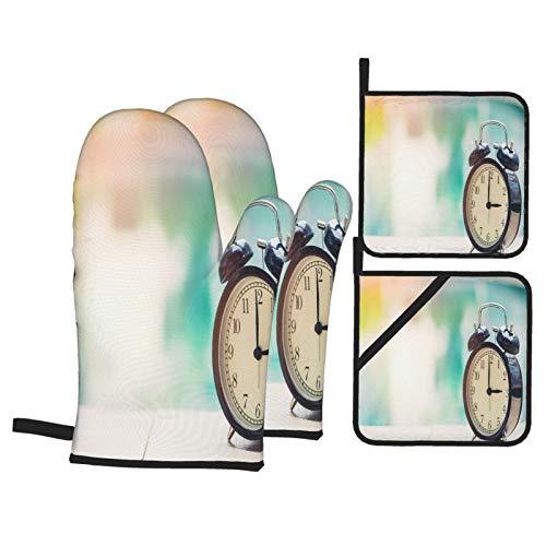 Juego de 4 Guantes y Porta ollas para Horno Resistentes al Calor Oclock Retro Reloj Piscina para Hornear en la Cocina,microondas,Barbacoa