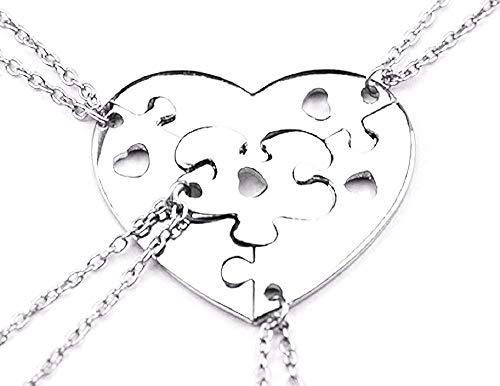 Vier vrouwelijke kettingen - vrouw - vriendschap - hart - beste vrienden voor 4 - puzzel x 4 - hartje - kerstmis - bff - zilver - origineel cadeau idee