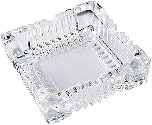 King International Large Square Glass Ash tray for Cigars and Cigarettes 4 inch| Big Ash tray Outdoor for Patio, Tabletop| Decorative Ash trays for Home Outside Indoor Restaurant Cigar Ash trays