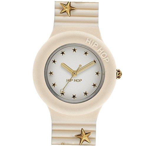 Reloj HIP HOP Mujer Punk Romance Esfera Blanco e Correa in silicio, Glam Blanco, Movimiento Solo Tiempo - 3H Cuarzo
