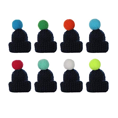 YangYun 10pcs 18 Colors Mini Knitted Hairball Hat Brooch Sweater Pins Cute Doll Headwear Clothes Accessories Creative Hats(10pcs,Navy)