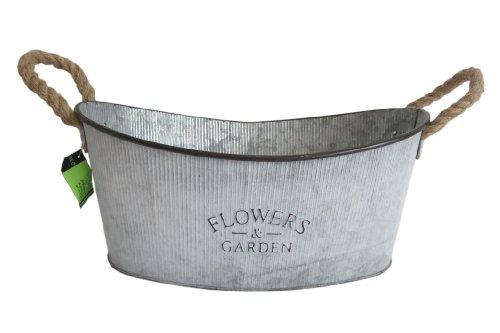Flowers Pot de fleurs en forme de bassine en zinc aspect rustique L 39x26x18cm