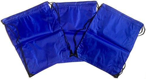 3 Stück Nylon Kordelzug Rucksäcke Sackpack Tote Cinch Gym Bag – verschiedene Farben, blau (Blau) - TA-DSB-BLU-R-CA