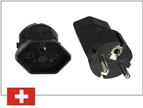 DINIC Reiseadapter, Stromadapter für Schweizer Netzkabel, Schweiz 3-Pin CH Stecker an eine Schuko-Buchse
