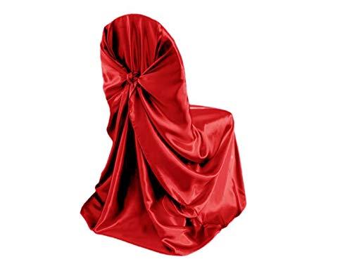 PCSACDF Zelfstropdas Satin Universele stoelafdekking voor bruiloftsbanketten, feesten, jaarleveringen avondeten decoratie groothandel merk BITFLY 110X140CM rood