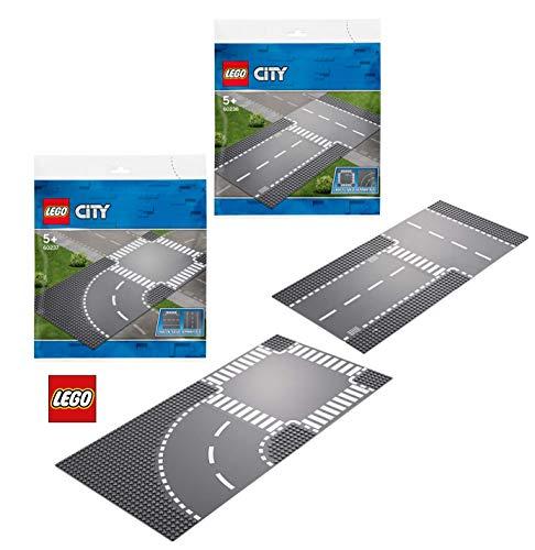 LEGO City 60236 City Gerade und T-Kreuzung, bunt 60237 City Kurve und Kreuzung, bunt