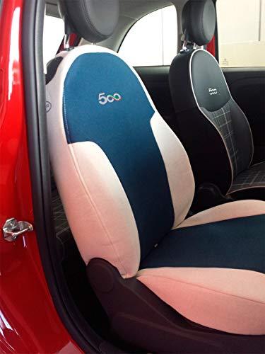 autoSHOP Fodera Set COPRISEDILE su' Misura Completa per Fiat 500 dal 2007-2008 -2009-2010-2011-2012-2013-2014-2015-2016 Posteriore Intero O Diviso (SPECIFICARE) (Posteriore Diviso)