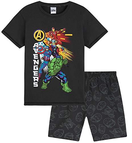 Marvel Schlafanzug Jungen, Kurzer Kinder Schlafanzug Jungen und Teenager, Avengers Fanartikel, Pyjama Set T Shirt & Schlafshorts, 104-164 (Dunkelgrau, 7-8 Jahre)