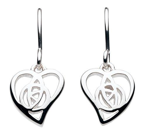 Heritage Women's Sterling Silver Mackintosh Open Rose Heart Drop Earrings