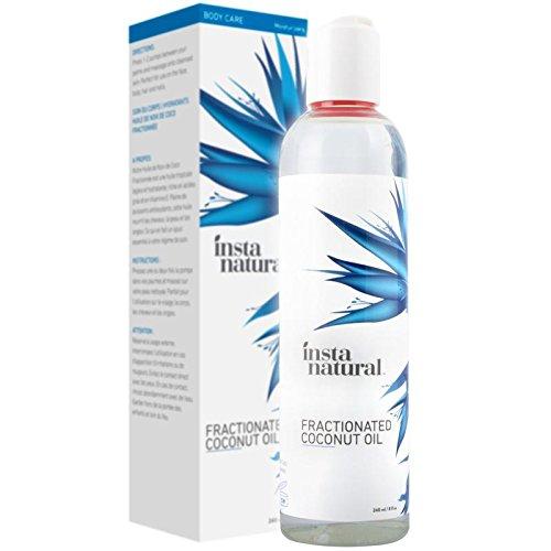 InstaNatural fraktioniertes Kokosnussöl - 100% rein flüssiger Feuchtigkeitsspender für Haut, Haare, Nägel, Haarspülung für trockenes & beschädigtes Haar, Rasier-Gel, Massage & Badeöl, Babyöl - 240 ml